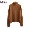 - 2015 Autumn and Winter Vintage Women Sweater Long Sleeve Loose Turtleneck Knitted Pullover Army Green Sweaters Crop Top -   jetcube