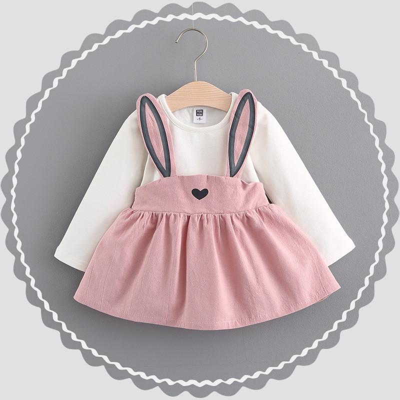 - 0-2 ages cotton 2017 spring autumn cartoon cute character rabbit pattern kid children clothing baby girl dress princess dress - Pink / 12M  jetcube
