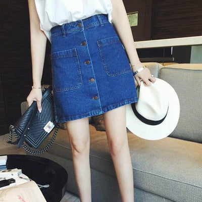 - 018 New summer Womens ladies A-line Pencil Jeans Skirt Front Button High Waist Denim small pockets Skirt black white - Navy Blue / L  jetcube