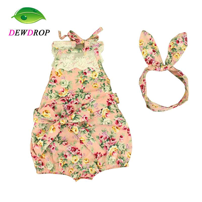 - (DEWDROP) Rose Floral Printed Baby Romper ,Vintage Baby Girls playsuit ,Lace Floral printes Baby Swag Rompers baby girl clothes -   jetcube
