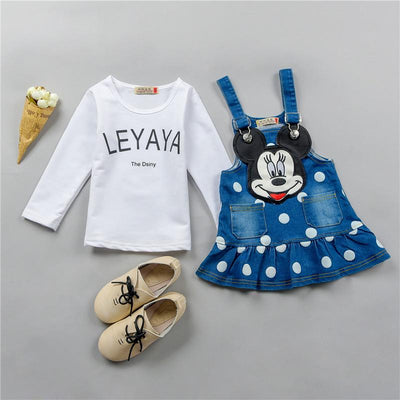 - 0-4 ages cotton 2017 autumn winter cute character children baby girl clothing dress+T-shirt baby girl dress clothing set -   jetcube