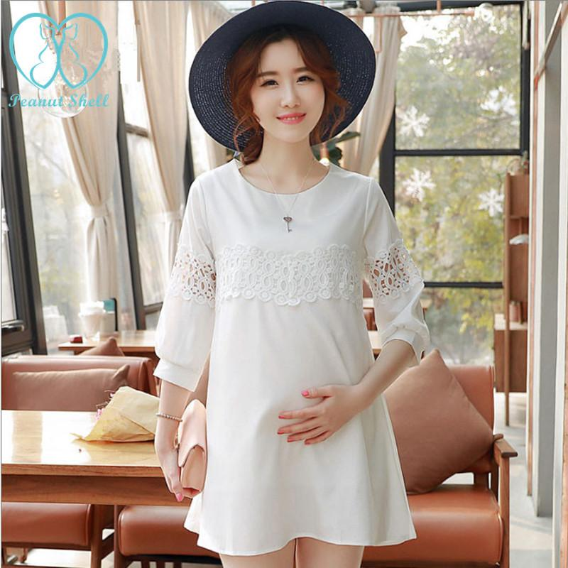 - 1528# Hollow Out Cutout A Line White Chiffon Maternity Shirts 2016 Summer Fashion Tops Clothes for Pregnant Women Pregnancy Wear -   jetcube