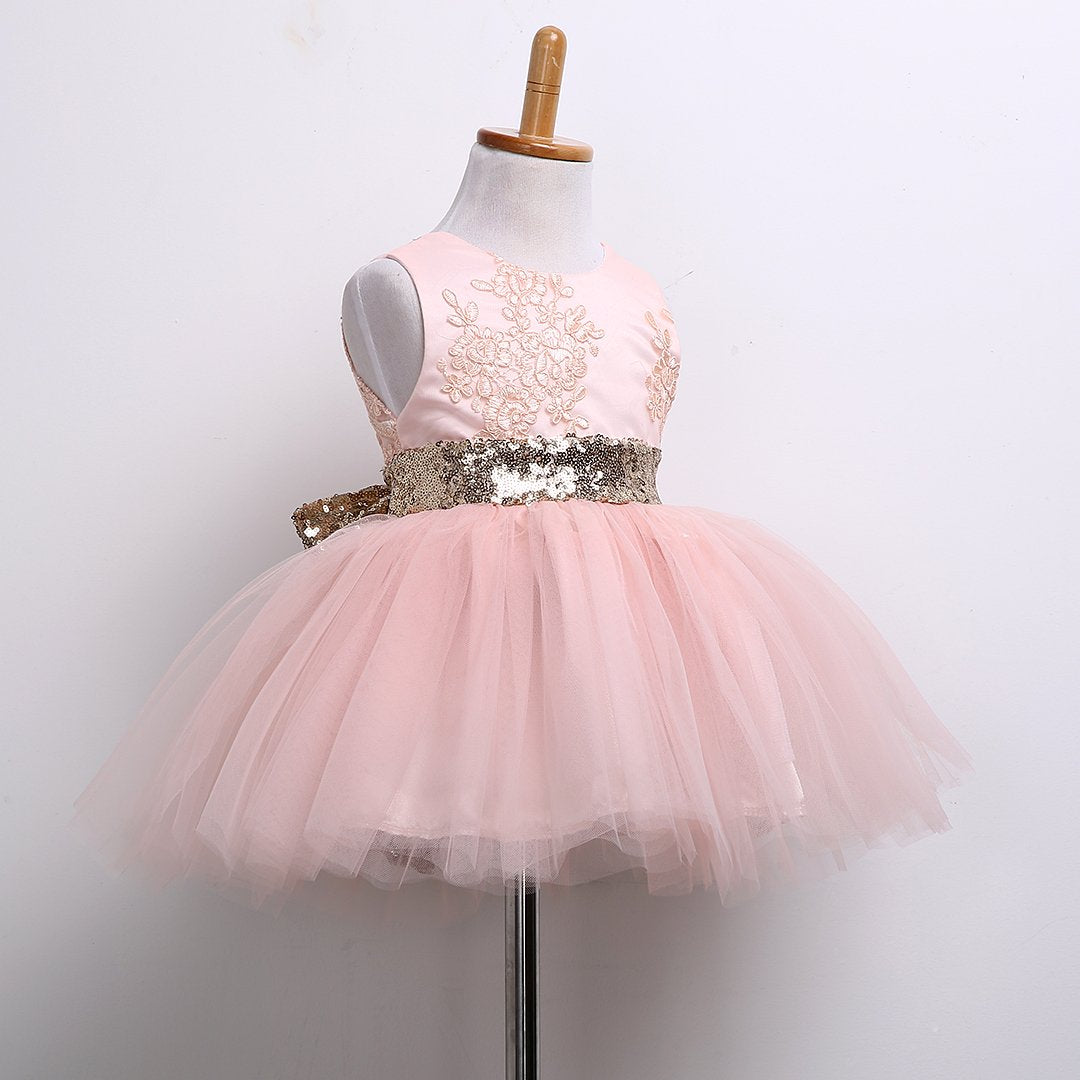 - 0-10T New Fashion Sequin Flower Girl Dress Party Birthday wedding princess Toddler baby Girls Clothes Children Kids Girl Dresses - Pink / 12M  jetcube