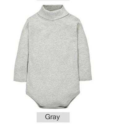 - 12 Color Baby Clothes 0-24M Newborn baby boy girl clothes Jumpsuit Long Sleeve Infant Product solid turtleneck Baby Rompers - Gray / 12M  jetcube