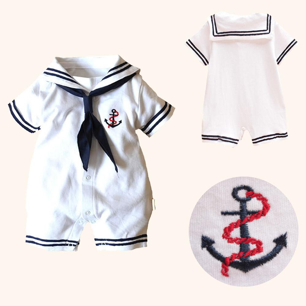 Hot Newborn Boy Clothes Baby Romper Sailor Costume infant Babygrows Infant Kids Clothes Summer Short Sleeve Rompers One Pieces