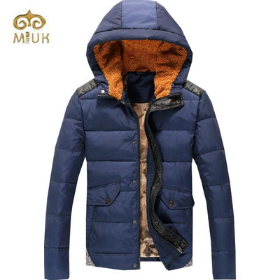 - 2016 Hooded Fashion White Goose Down Navy Blue White Stand Collar Parka Men Winter Jacket Coat -   jetcube