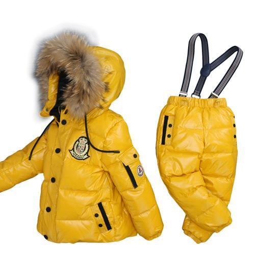 - -30Degrees Russia Winter Ski Jumpsuit Children Clothing Boys Girls Sport Suit Kids Snow Wear Jackets coats Bib pants Waterproof - Yellow / 24M  jetcube