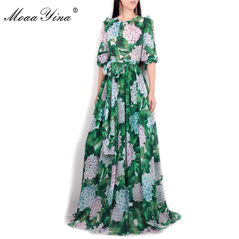 MoaaYina Summer Runway Maxi Dress Women s Long Sleeve Casual Bohemian Party  Holiday Green Leaves Floral Printed 73fb38bad93a