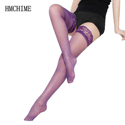 f66ca33a0 7 colors Thigh High Sexy Stockings Lace Silicone Stay Up Transparent  Pantyhose For Women Medias Over