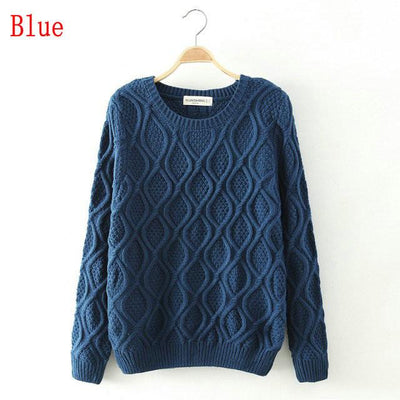 - 12 Color ! Hot New Autumn Winter Women Fashion Cotton Elastic Sweater Lady Knitted Long Sleeve O-neck Woolen Pullovers -   jetcube