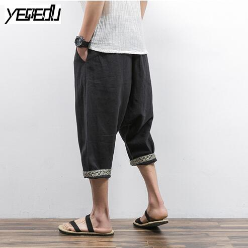 - #1312 2017 Mens joggers Lightweight Pantalon large Mens harem pants Linen cotton Cross-pants Loose Chinese style Sarouel homme -   jetcube