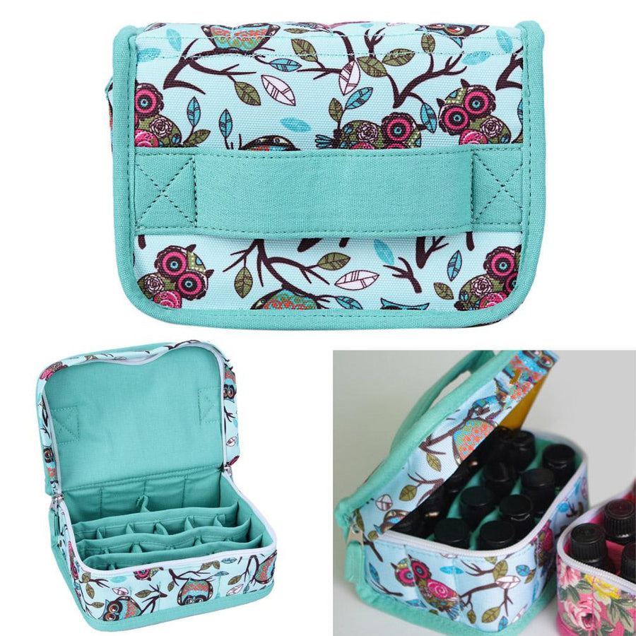 1 Pc 20-Slot Green New Style Birds Pattern Portable Shock-resistant Essential Oil Carrying Storage Case Bag Double Zips M 1STL