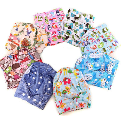 - 2+10 pcs Baby newborn Printing diapers Reusable nappies Training pant Adjustable size Children Washable diapers inserts 3 Layers -   jetcube