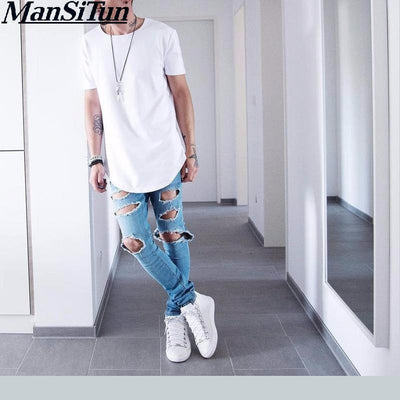 Man si Tun Mens big and tall Clothing Men's Basic Extended Long T-Shirt Elongated Tee Hipster Crew Neck Black hip hop T-Shirt