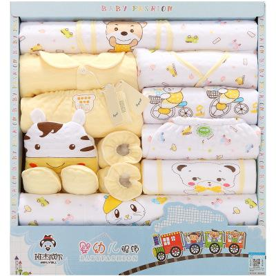 - 18 Pcs/Lot Baby gift Set Newborn Boys and Girls Soft cotton baby set cartoon Print unisex baby Cotton clothing TZ-011 - Gold / 0-3 months  jetcube