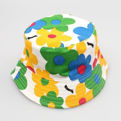 - 2-6T Baby Cartoon Print Bucket Sun Hat Floral Children Summer Panama Caps Baby Girls Fisherman Straw Hat Kids Boys Topee cap - 10  jetcube