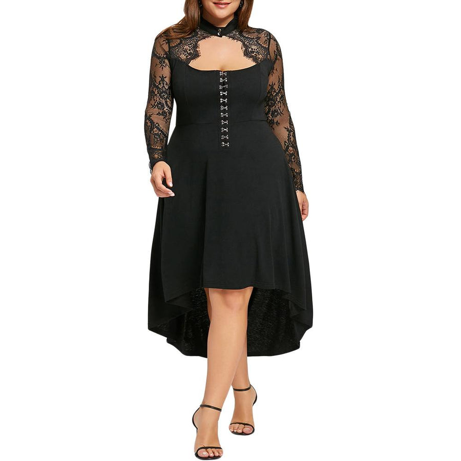 Gamiss Women Spring Plus Size 5XL Black Lace Up Dip Hem Keyhole Dress Women Gothic Long Sleeves A-Line Vintage Female Vestidos