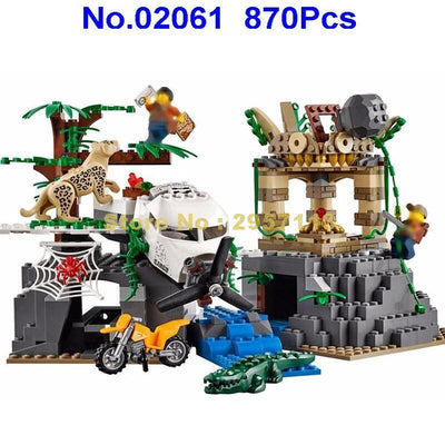 - 02061 870pcs City Series Exploration Of Jungle Lepin Building Block Compatible 60161 Brick Toy - Default Title  jetcube