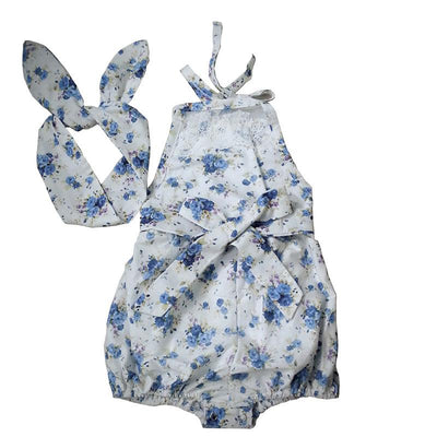 - (DEWDROP) Rose Floral Printed Baby Romper ,Vintage Baby Girls playsuit ,Lace Floral printes Baby Swag Rompers baby girl clothes - Sky blue flower / 12M  jetcube