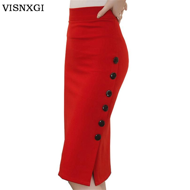 f05522811d71 Women Pencil Skirt High Waist Knee Length Pure Color For Party Night Club Woman  Wear Bodycon
