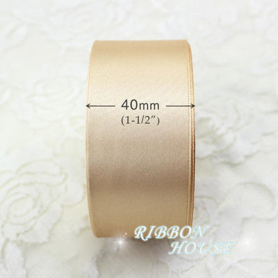 - (25 yards/roll) 40mm Champagne Single Face Satin Ribbon Wedding Decoration Gift Christmas Ribbons -   jetcube