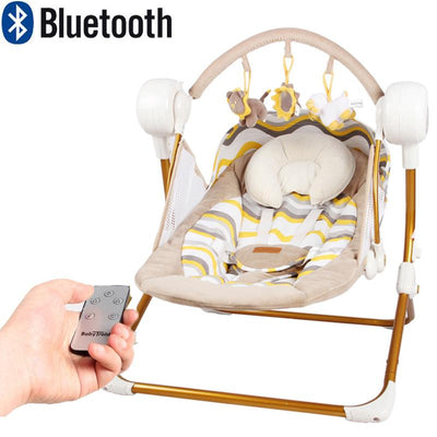 - 0-18 month newborn Brand Cradle Electric Music Rocking Chair Automatic swing Sleeping Basket Golden Frame 8GB Bluetooth USB -   jetcube