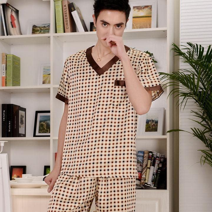 2017 autumn pajamas for men cotton sleepwear short sleeve trousers pyjamas set men lounge pajamas plus  dailytechstudios- upcube