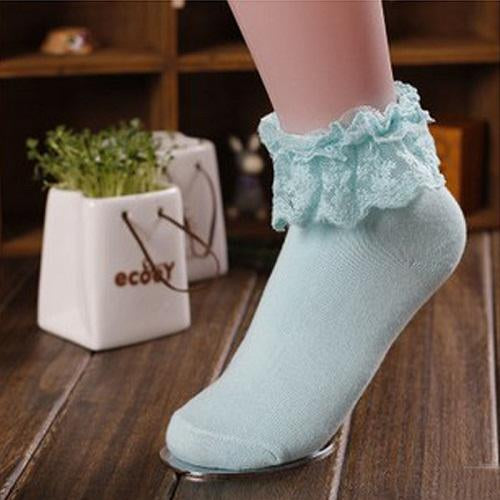 - 1 Pair 7 Colors Princess Girl Cute Sweet Women Ladies Vintage Lace Ruffle Frilly Ankle Socks CB - Sky Blue  jetcube