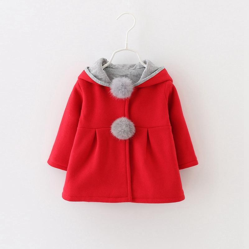 - 0-24 Months Autumn Winter Jackets for Girls Cute Rabbit Ear Hooded Baby Girl Coat 2017 New Style Solid Newborn Baby Outwears - Red / 12M  jetcube