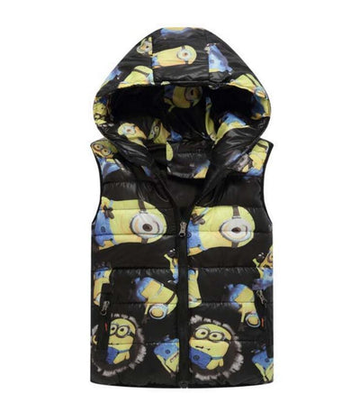 - 2-8 yrs 2017 New Baby boys girls autumn winter vest coat Kids warm outerwear children Jacket fashion cartoon waistcoat hooded - Black / 5  jetcube