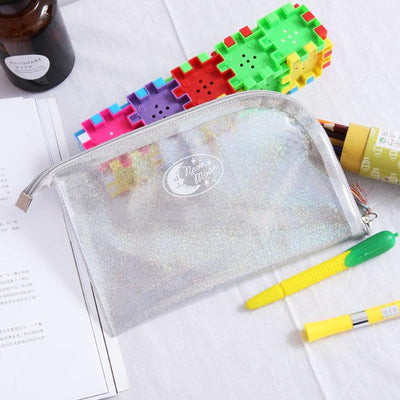 - (1pcs/sell) Envelope Laser Clear Womens Travel Cosmetic Bags High Quality Makeup Bag Make Up Bag Neceser Luxury Famous Brands -   jetcube