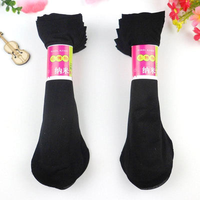 - 10 Pairs Women Velvet Socks Summer Thin Silk Sexy High Elastic Nylon Low Cut Cool Feeling Solid Color Breathable Socks - Black / One Size  jetcube