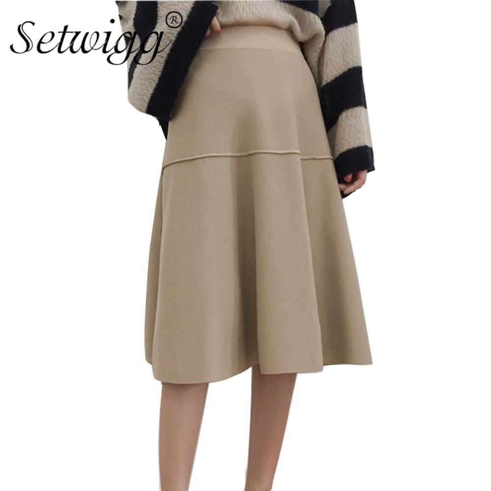 2017 Autumn Patchwork A-line Knit Mid-calf Long Skirts Elastic Waist Zipper Back Split Knitted Flared Below Knee Skirts SG1249