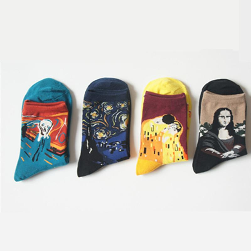 - 1 lot=4pairs 2017 Cotton Art Socks for Women Lady Van Gogh Mural Harajuku Street Graffiti Cute Korean Cylinder Sox Calcetines -   jetcube