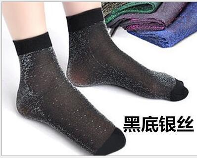 - 10 pair Glitter Women Socks Fashion Silk Female Short Socks Shiny Harajuku Soft Ladies Funny Socks Transparent Elastic Hosiery - Black and silver  jetcube