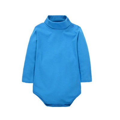 - 12 Color Baby Clothes 0-24M Newborn baby boy girl clothes Jumpsuit Long Sleeve Infant Product solid turtleneck Baby Rompers - Blue / 12M  jetcube