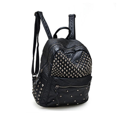 - 2016 Fashion Women Waterproof PU Leather Rivet Backpack Women's Backpacks for Teenage Girls Ladies Bags with Zippers Black Bags -   jetcube