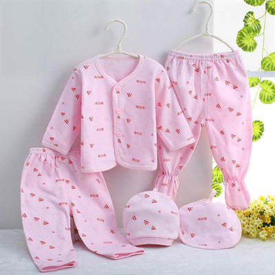 - 0-3M Newborn Infant Baby Girls boys Clothes Long-sleeved shirt,pants,hat,scarf 7pcs 5pcs Outfit Kids Clothing Set Factory cheap - 5PCS 02 / 3M  jetcube