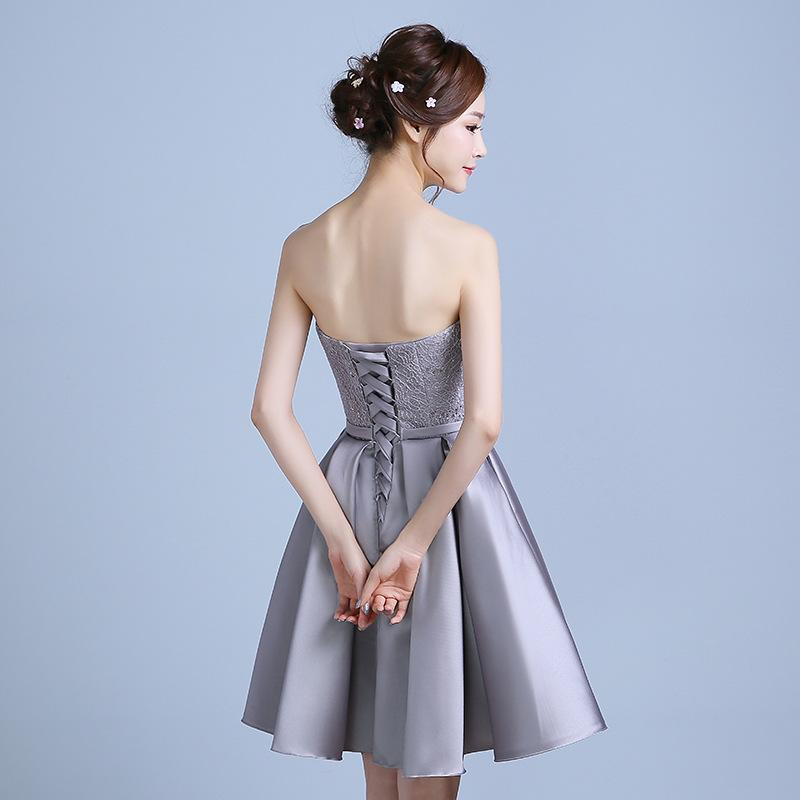It s Yiiya 2017 New Gray Strapless Bow Sex Party Gown Prom Gowns Lace Up  Knee Length f9f3afceca51
