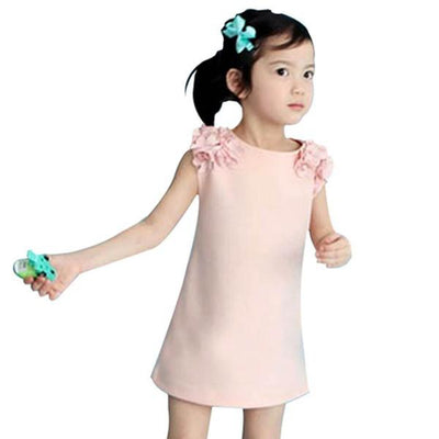 - 2-7Y Baby Girls Dress Sleeveless Sundress Dress Party Princess Dress Floral Dress - Pink / 2T  jetcube