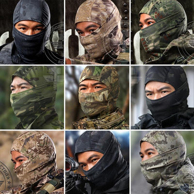 - 18 Color Tight Multicam CP Balaclava Camouflage Tactical Airsoft Paintball Bicycle Army Military Helmet Liner Full Face Mask -   jetcube