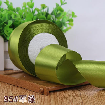 - (25 yards/roll) 2'' (50mm) single face Satin Ribbon Gift Packing Christmas Ribbons Wedding Party Decorative DIY Crafts supplies - Army green  jetcube