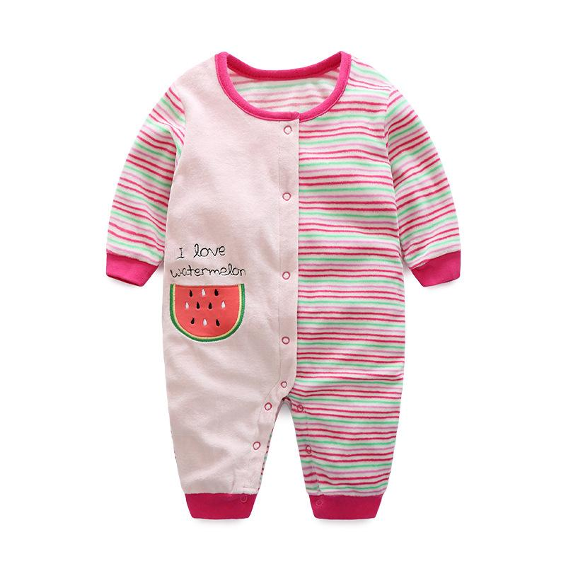 - 0-12M Autumn Fleece Baby Rompers Cute Pink Baby Girl Boy Clothing Infant Baby Girl Clothes Jumpsuits Footed Coverall V20C - MKBCROGL001P51 / 12M  jetcube