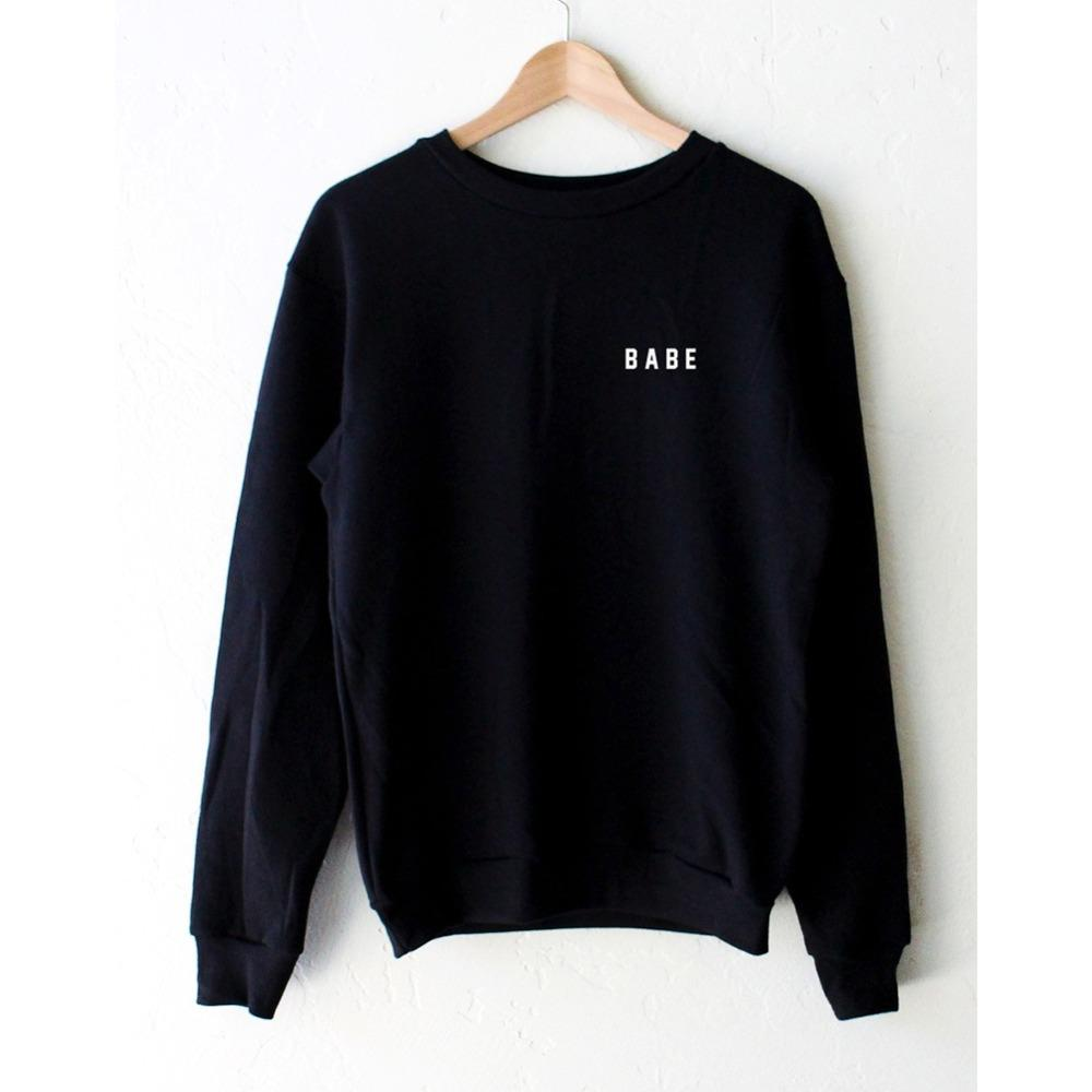 BABE Printed Black Hoody Sweatshirts Cute Long Sleeve Loose Woman's Tops