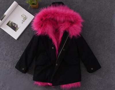 - 2-12T Girls Boys Fox Fur Jackets Thick Warm Liner Thicken Warm Baby Girl Winter Coat Hooded Parkas For Boy Children's Outerwear -   jetcube