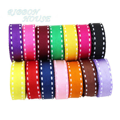 - (14 colors mixed!) 3/8'' (10mm) White Dots Color grosgrain colored ribbon wholesale gift wedding baking ribbons -   jetcube
