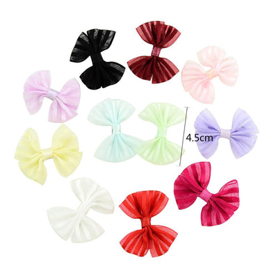 - 10 Pcs/ Lot Kids Mini Bow Whole Wrapped Safety Hair Clips Cute Solid Dot Stripe Printing Hairpins For Girls 731 - 8  jetcube
