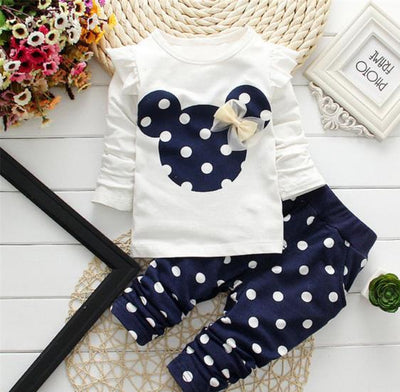 - 2016 Fashion Micky Mouse Baby Set Dot Cotton Baby Girl Clothes Kids Clothing Set Girl (Pants+T-shirt) Summer Mutli-Colors - Navy blue / 12M  jetcube