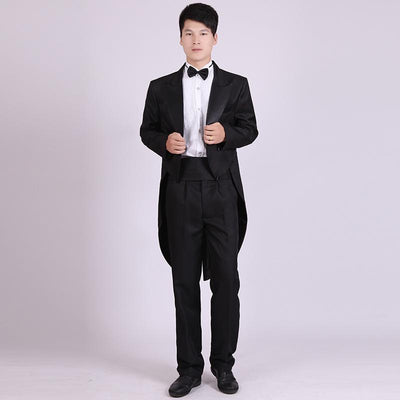 - (Jacket+Pants) Men's Classic Black And White Swallowtail Christmas Magic Stage Performance Mens Tuxedo Suits -   jetcube