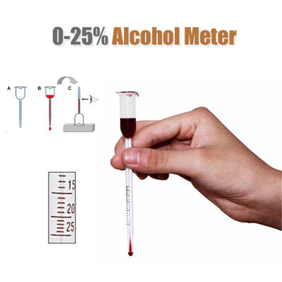 - 0 to 25 Degree Glass Wine Shaker Alcohol Meter Vinometer Cork for a bottle Concentration Measuring Bar Tool -   jetcube